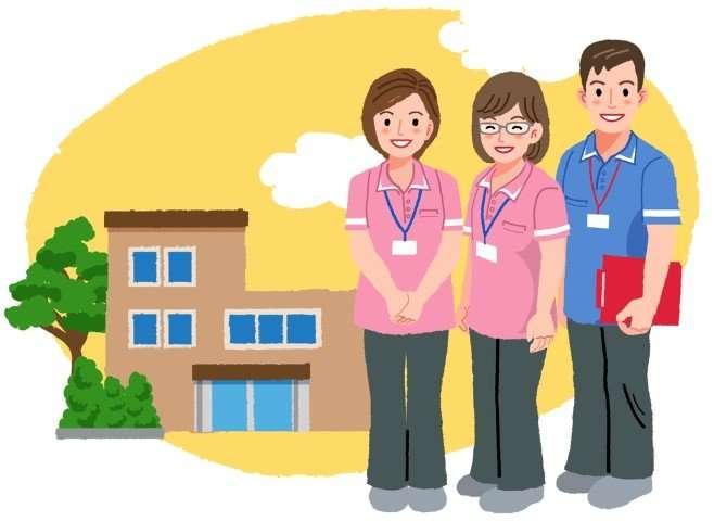 Smiling caregivers in pink uniform and nursing house