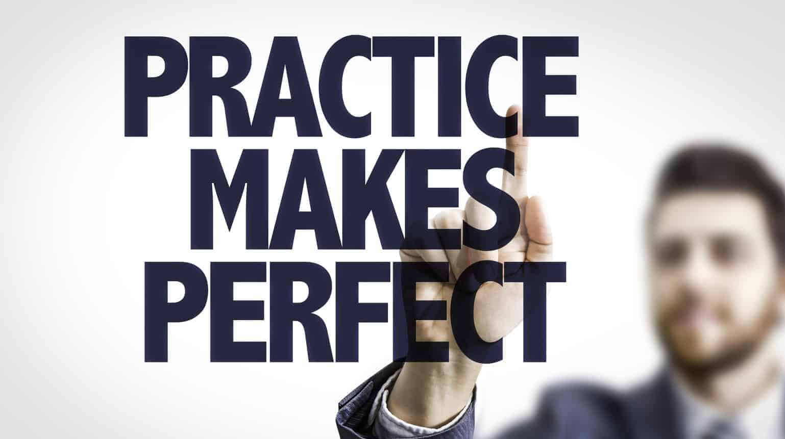 Man behind a text that says practice makes perfect