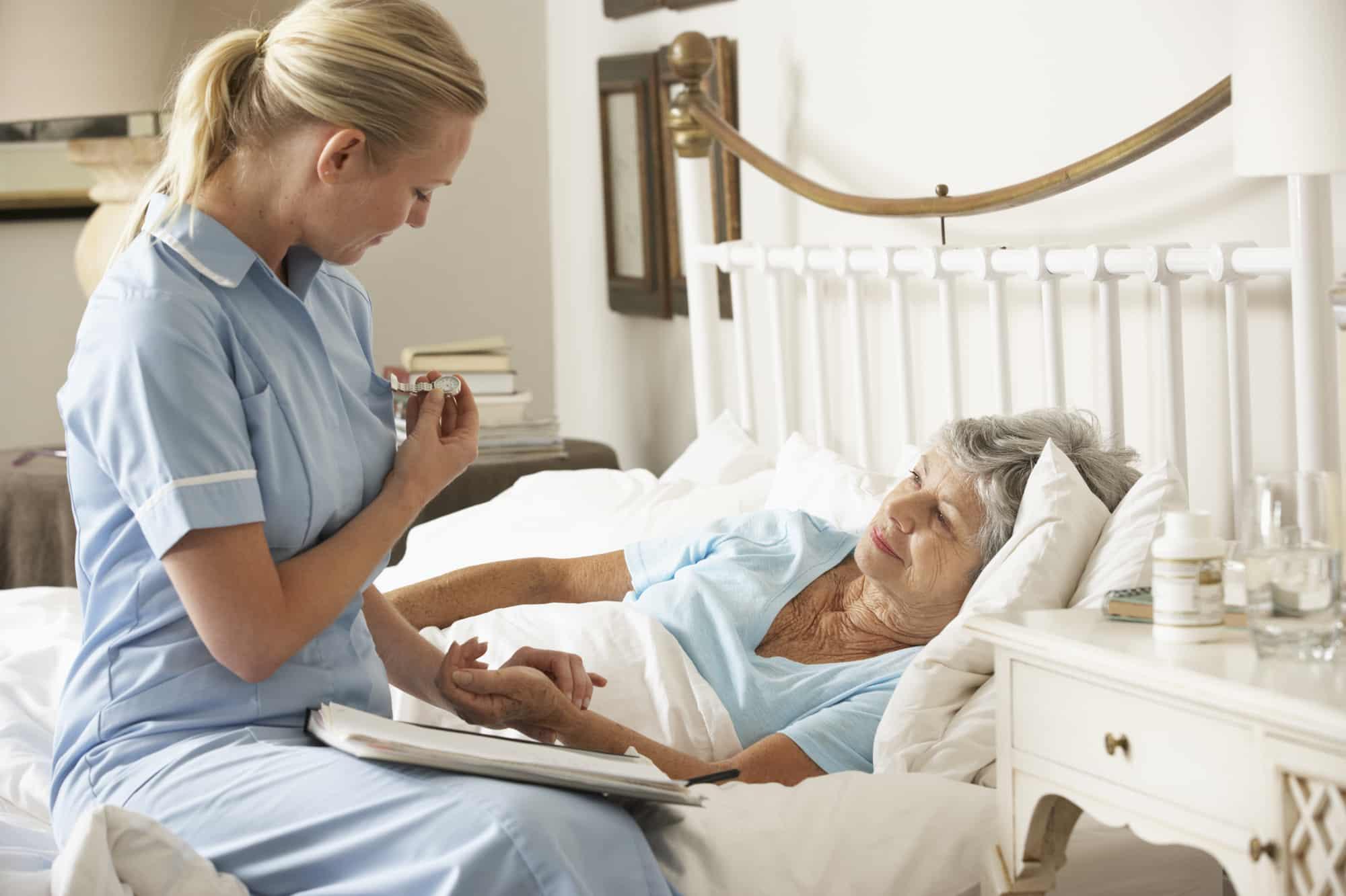 Palliative Care Nurse taking care of Senior patient